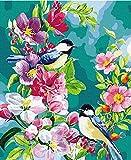 Pintar Por Números Kits,Pájaro De Flor Tropical Pintura Por Números Para Adultos Diy Pintura Al Óleo Kit Con Pinceles Y Pinturas Para Niños Seniors Junior 16X20 Inch
