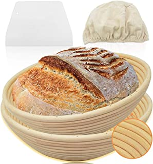 Walfos Banneton Lot de 2 paniers à pain rond de 20,3 cm en rotin naturel pour pâtissier domestique et professionnel - Spat...