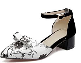Sexy Pointed Toe Women Sandals Print Med Chunky Heels Shoes Woman Party Date Footwear