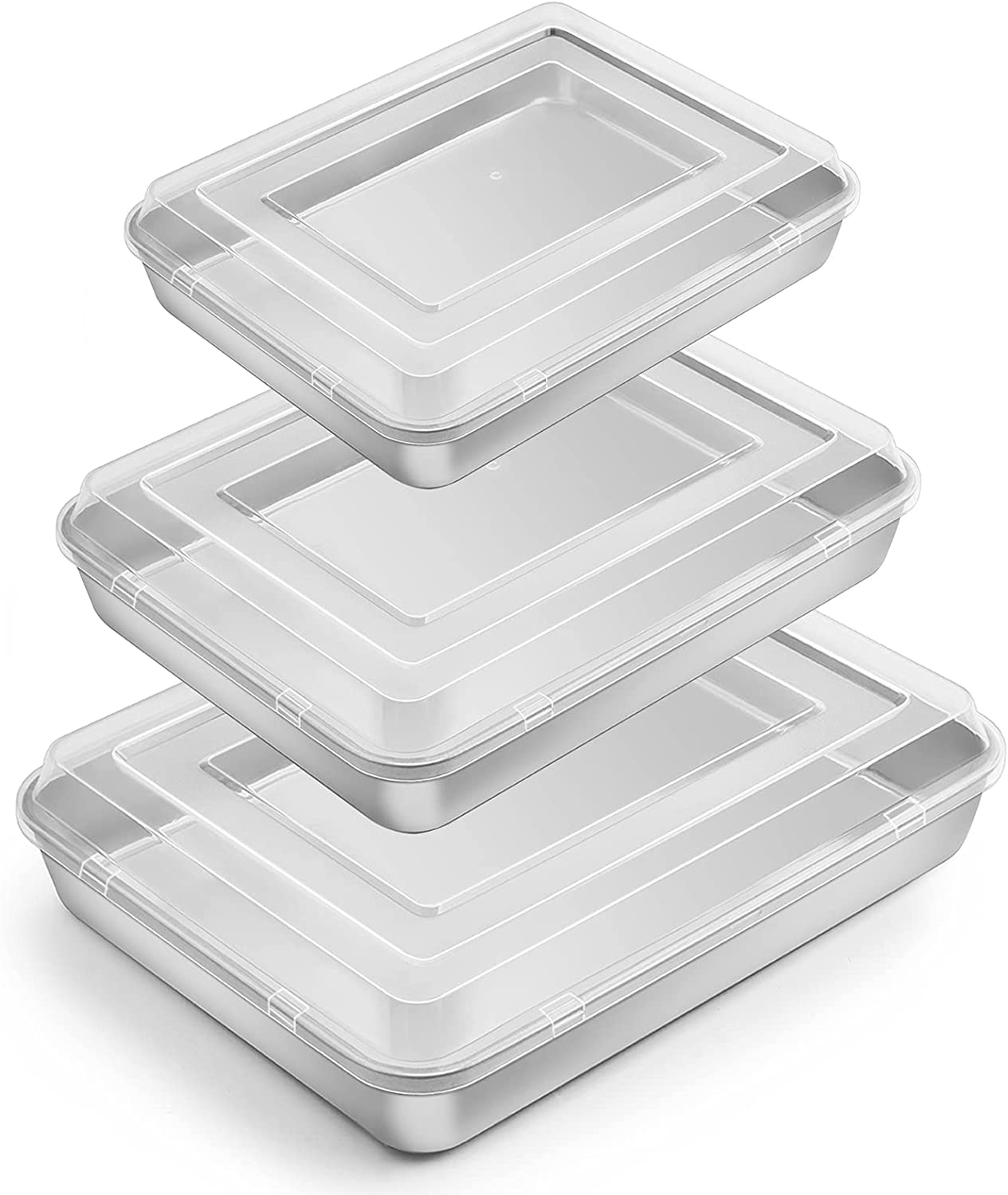 Baking Pan with Lid(12.4/10.4/9.4 inch), E-far Stainless Steel Rectangular Sheet Cake Pans with Cover, Metal Bakeware Sets for Lasagna Casseroles Brownie, Non-toxic & Dishwasher Safe - 3 Pans + 3 Lids