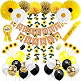 Sunflower theme Baby Shower Decorations for Girl, Gender Neutral or Boy, Sunflower Welcome Baby Banner, Flowers Vine, Cupcake Toppers, Tissue Paper Fans, Sash, Daddy To Be Pin by JSN PARTY