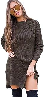 06f4595b3c Femmes Robe Femmes Hiver Pull Robe Club en Maille à Manches Longues  Chandail et Col Roulé