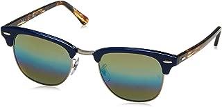 RAY-BAN RB3016 Clubmaster Square Sunglasses, Metallic Light Bronze/Blue Rainbow Flash, 49 mm