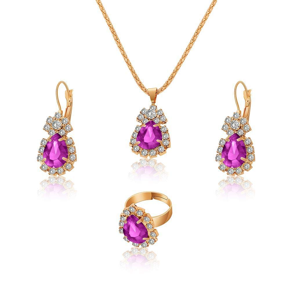 Water Drop Rhinestone Necklace Earrings Ring Set high-end Bridal Jewelry (Purple)