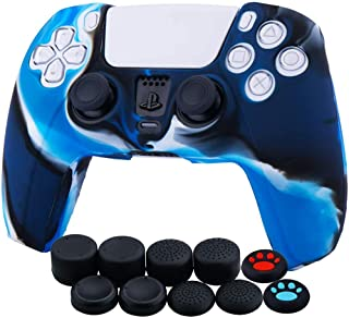 Funda de piel de silicona para el controlador PS5 Dualsense x 1 (camuflaje azul) con agarres para el pulgar x 10