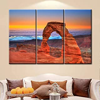 Large Wall Art Decor Poster Painting On Canvas Print Pictures 3 Pcs Arches National Park Delicate Arch Sea Of Clouds In Moab Utah Usa Landscape Canyon Framed Picture For Home Decoration Living Room