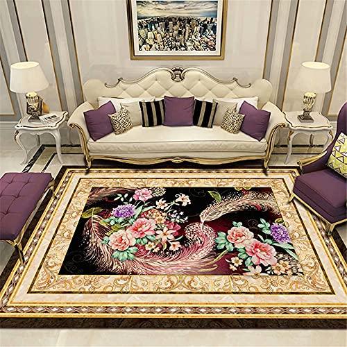 Kunsen alfombras para terrazas decoración habitación niña Sala de Estar Alfombra Color Patrón Floral Negro Beige Oro Rectangular Duradero Decoracion Bebe habitacion 200x250cm 6ft 6.7' X8ft 2.4'