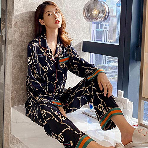 Wenhua Pajamas Woman, Pijamas Casuales de Seda de Moda para Mujer, Ms_LPijamas Mujer Verano Largo del Pijamas Pantalones
