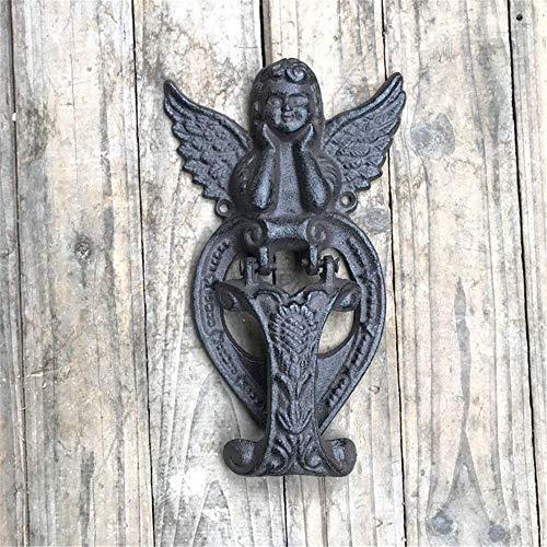 Hausnummer im Freien, Haus im Freien Gusseisen Hochleistungs Vintage Vintage viktorianischen Gusseisen Klopfer, Angel Raw Iron Türklopfer, rustikal für Landhaus oder moderne Townhouse Manor Haustür H
