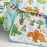 Happy Linen Company Mädchen/Jungen Stepp-Tagesdecke - mit niedlichen Dinosauriern - wendbar