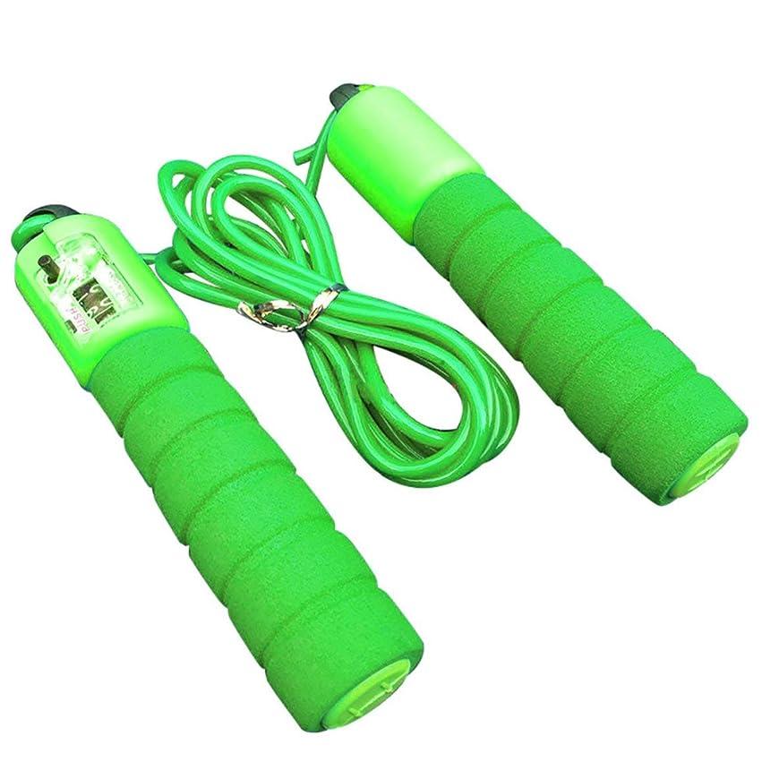 超高層ビル勇者どちらも調節可能なプロフェッショナルカウント縄跳び自動カウントジャンプロープフィットネス運動高速カウントジャンプロープ - グリーン