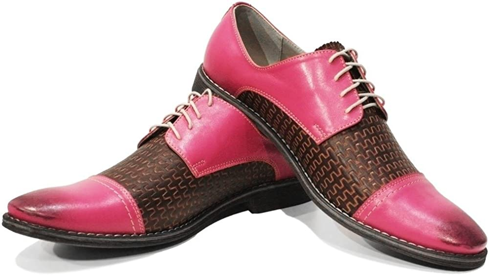 Modello Pinqu - Handmade Italian Mens Color Pink Oxfords Dress Shoes - Cowhide Embossed Leather - Lace-Up