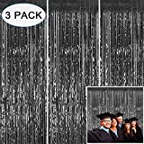 3 Pack Black Foil Fringe Curtain Backdrop - 3.2 x 8.3 ft Tinsel Fringe Curtains Party Photo Backdrop for 2020 Graduation Party Decorations Supplies, Birthday, New Year Eve Party, Wedding, Baby Shower Decor