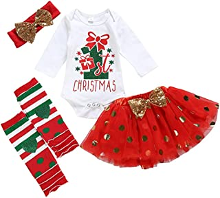 3-Pieces Toddler Baby Girls Christmas Cotton Elk Tops+Overalls Cartoon Skirt+Headband Clothes Outfits Sets (12Months-5Years)