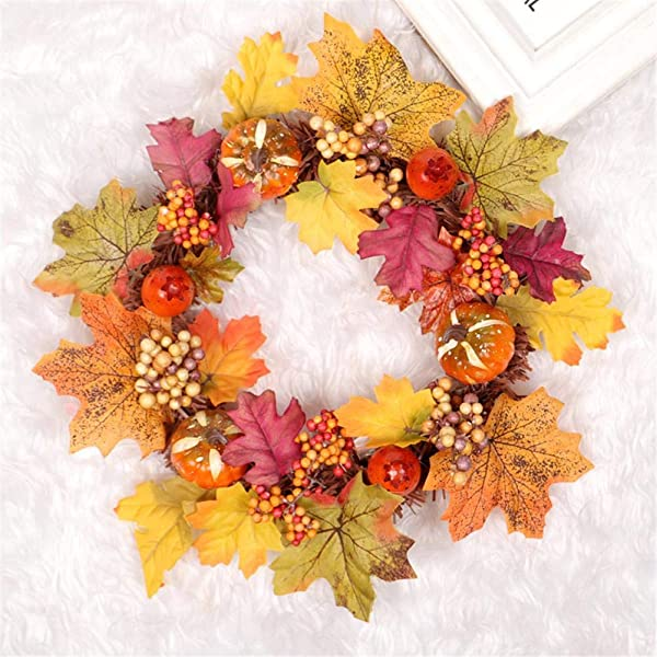 Gorge Buy Artificial Pumpkin Pinecone And Maple Leaf Wreath Autumn Maple Leaf Wreath With Berry For Front Door Hanging Wall Decoration Ideal Decor For Halloween Thanksgiving