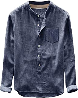 Mens Linen Shirts Tronet Fashion Mens Autumn Winter Button Casual Linen and Cotton Long Sleeve Top Blouse