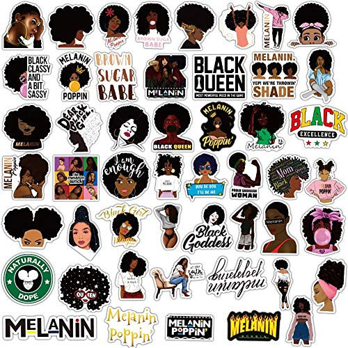 JIAQI Mode inspirierende Melanin Poppin Black Girl Aufkleber für DIY Gepäck Laptop Skateboard Motorrad Aufkleber Aufkleber50Pcs