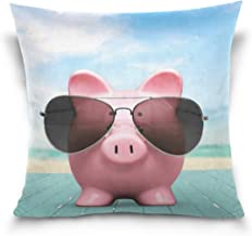 """MASSIKOA Piggy Decorative Throw Pillow Case Square Cushion Cover 16"""" x 16"""" for Couch, Bed, Sofa or Patio - Only Case, Doub..."""