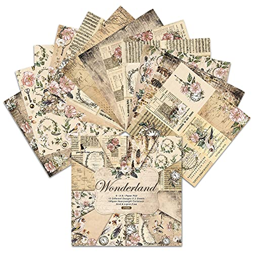 Smaler 24 Blatt Scrapbooking Papier - Bastelpapier | Gemustertes Karton Designpapier Motivblock | Vintage Dekopapier Scrapbook Zubehör Für Tagebuch Notizbuch DIY Kunst Und Handwerk