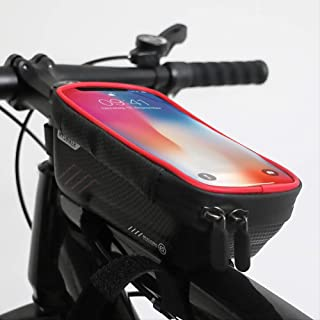 Bike Phone Front Frame Bag - Waterproof Bicycle Top Tube Cycling Phone Mount Pack with Touch Screen Sun Visor Large Capaci...