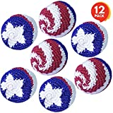 ArtCreativity Patriotic Kickballs, Set of 12, 4th of July Party Favors, Red, White, and Blue American Flag Knitted Hacky Sacks, Fun Activity for Memorial, Veterans, and Independence Day Party