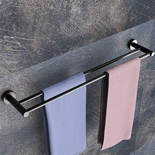 Doppelter Handtuchhalter MOKYU Badezimmer Handtuchstange für Wandmontage Handtuchhalter bad schwarz 61cm,1 Stück