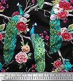 Soimoi Satén Tela de Seda Floral y pájaro del Pavo Real el Arte Impreso de Tejidos por el Metro 42 Pulgadas de Ancho