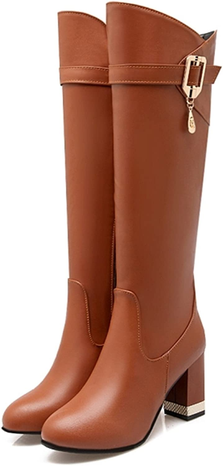 Kenavinca Plus Size 31-43 Women Boots Square Heels Round Toe Knee-High Boots Woman shoes Winter Boots Black Red Brown