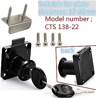 Drawer Lock Letter Box Lock Desktop Lock Door Lock, Model CT-138-22, (Opening Diameter 0.75 inch / 19MM) for Door Panels with a Thickness of 17 mm-22 mm. 1pcs [Black]