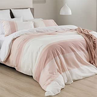 Merryfeel Cotton Duvet Cover Set,100% Cotton Yarn Dyed Striped Duvet Cover Set - Full/Queen Pink