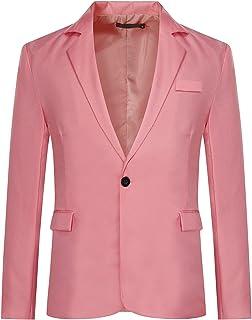 Men's Slim Fit Casual 1 Button Notched Lapel Blazer Jacket