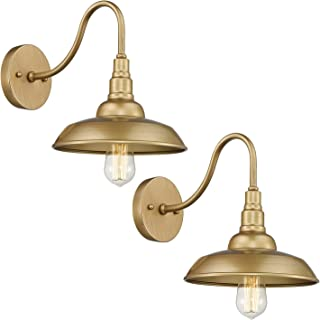 Emliviar Farmhouse Barn Lights 2 Pack, 10 inch Wall Sconces in Gold Finish, 523-2 AG
