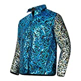 Mens Joe Exotic Shiny Sequins Button Down Dress Shirt L Blue