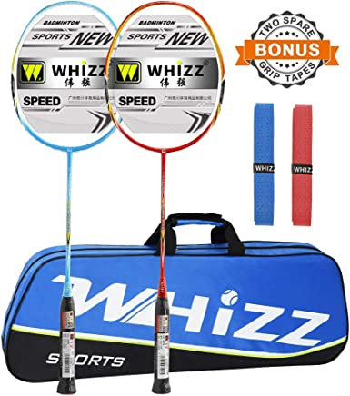 WHIZZ Badminton Racket Ultra-High Modulus Graphite 85g 24lbs with Bag//Grip