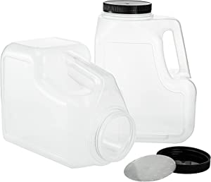 Yesland 2 Pack Clear Plastic Gallon Jar with Handle and Airtight Lid - Square Empty Storage Containers and Jugs - 1.25 Gallon Wide Mouth Bottles for Craft Supplies, Paint, Detergent Storage, Liquids