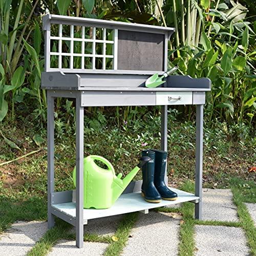 Wooden Outdoor Garden Potting Bench - Work Station Table with Sink Wood Patio Furniture Natural Gardening Workbench Drawer Storage Space Open Shelf
