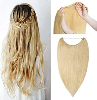 Hidden Invisible Crown Human Hair Extension One Piece Secret Miracle Wire in Hairpieces No Clip No Tape in Remy Hair Translucent Fish Line Headband 70g 20''/20inch #613 Bleach Blonde