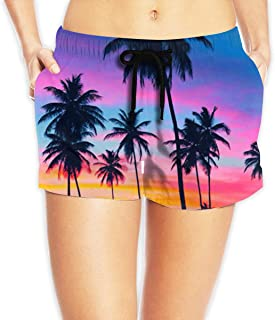 SARA NELL Mens Shorts Flamingo and Palm Leaves Exotic Quick Dry Swim Trunks Beach Board Shorts