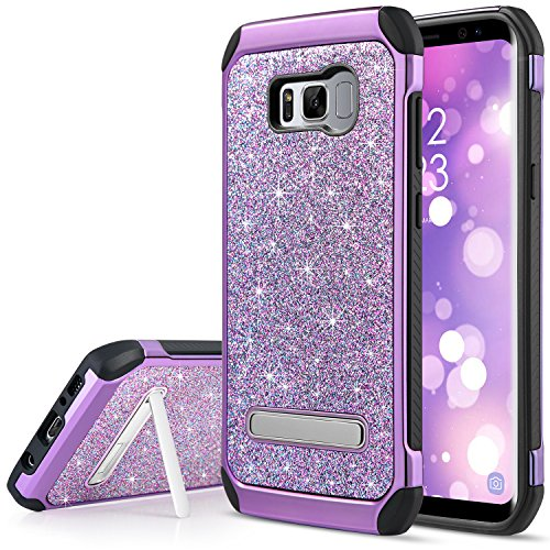 UARMOR Case for Galaxy S8, Luxury Glitter Bling Shockproof Rugged Hybrid Kickstand Slim Sparkly Shiny Faux Leather Chrome Hard Phone Case Cover for Samsung Galaxy S8 5.8 Inch, Purple