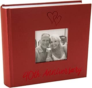 Haysom Interiors Lovely Ruby 40th Wedding Anniversary Photo Album with Double Heart Decoration - Inner Lining Pages to Personalize