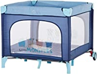 Baby playpen-SYY Portable Children's Fence No Need To Install And Save Space Bottom Pulley Design Indoor/outdoor?Blue/Brown (Color : Blue)