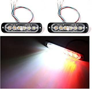 GPPOWER Car Truck Emergency Strobe Flash Light, Sync Feature 6 LED Surface Mount Warning light - Red/White