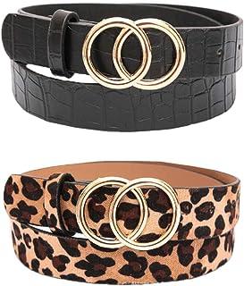 REYOK Cinturón de hebilla redonda de Doble,2 pcs Cinturón de mujer sencillo y de Moda Cinturón de Cuero para Mujer Señoras...