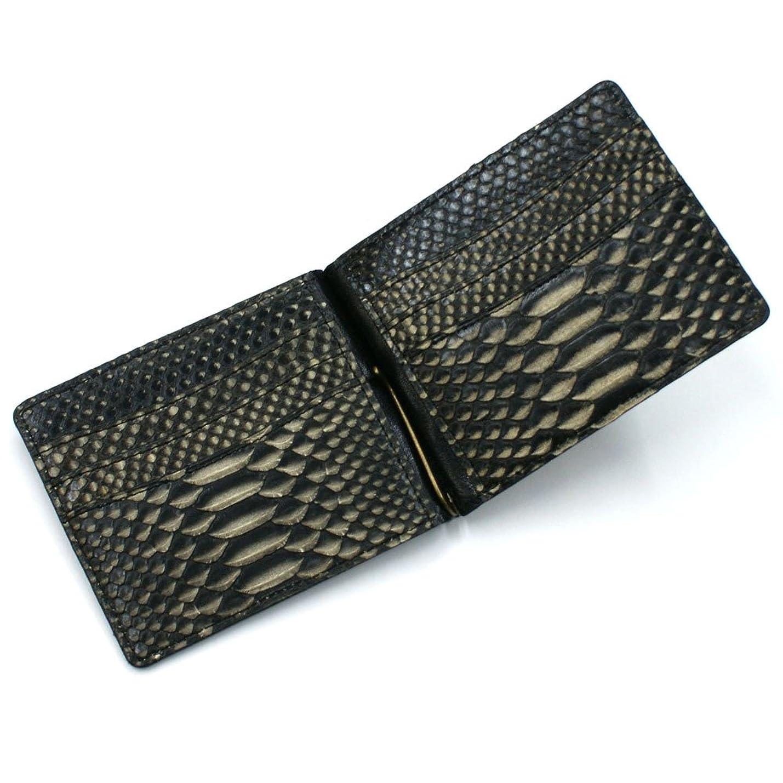 砂つかまえるダイバーZE1040-MS-BLACK 蛇革 札ばさみ:ゼブラ?ブラック【無双】【ヘビ革】【パイソン】【日本製】