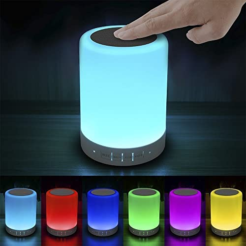 Elecstars Touch Sensor Bedside Lamp, Dimmable Warm White Light & Color Changing, Bluetooth Speaker, Gifts for Women …