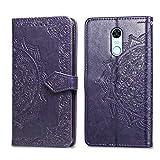 Bear Village Hülle für Xiaomi Redmi 5 Plus, PU Lederhülle Handyhülle für Xiaomi Redmi 5 Plus, Brieftasche Kratzfestes Magnet Handytasche mit Kartenfach, Violett
