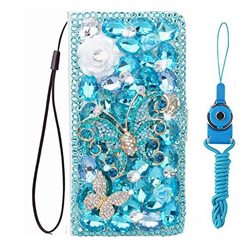 HFICY Funda tipo cartera para teléfono con 2 protectores de pantalla de cristal para mujer, con diamantes brillantes, funda protectora y cordón (Samsung Galaxy S8 PLUS/S8+, mariposas