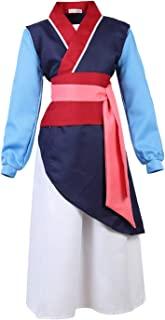 frawirshau Mulan Costume for Girls Heroine Dress Up Clothes Kids Role Play