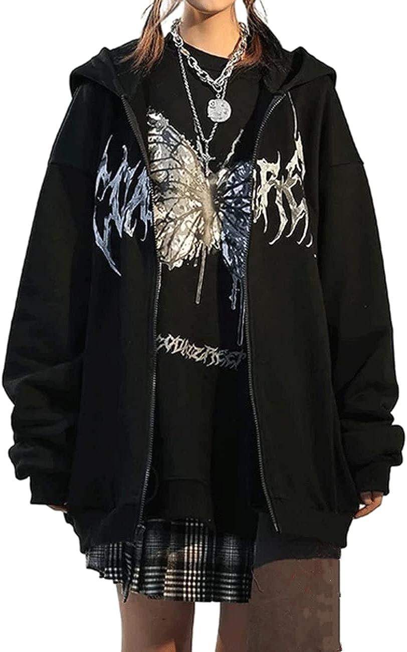 BZSFW Women Casual Zip Up Hoodie Face Portrait Sweatshirts Hoodies Y2K Aesthetic Long Sleeve Jacket with Pockets