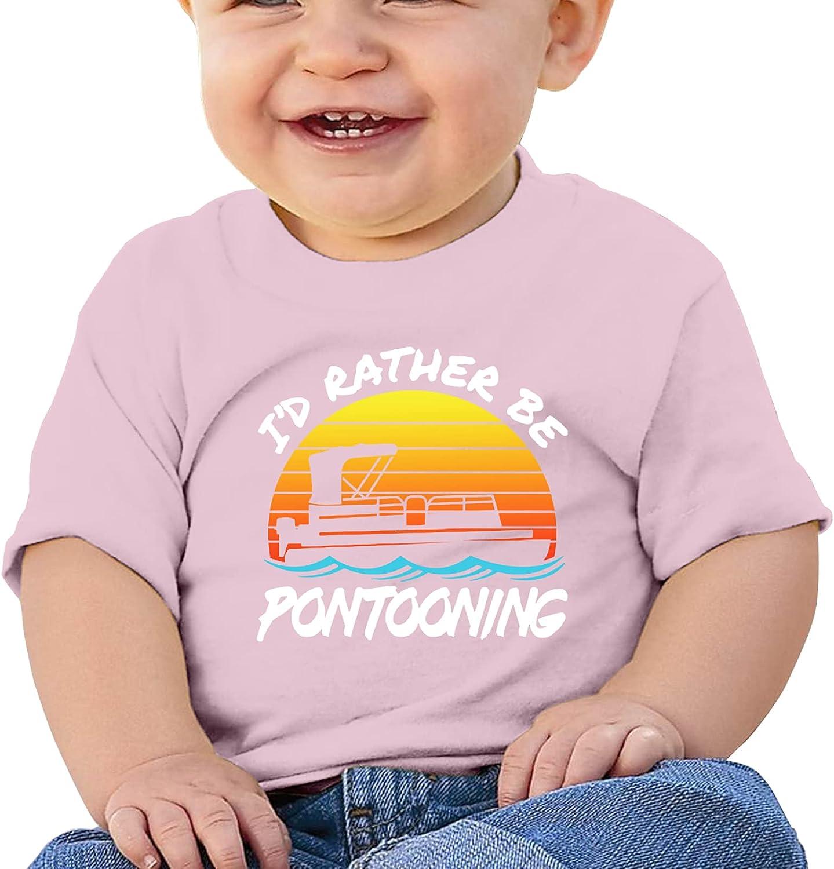 MSEBIM I'd Rather Be Pontooning Girl Boybaby'S Cotton T-Shirt Short T Shirts